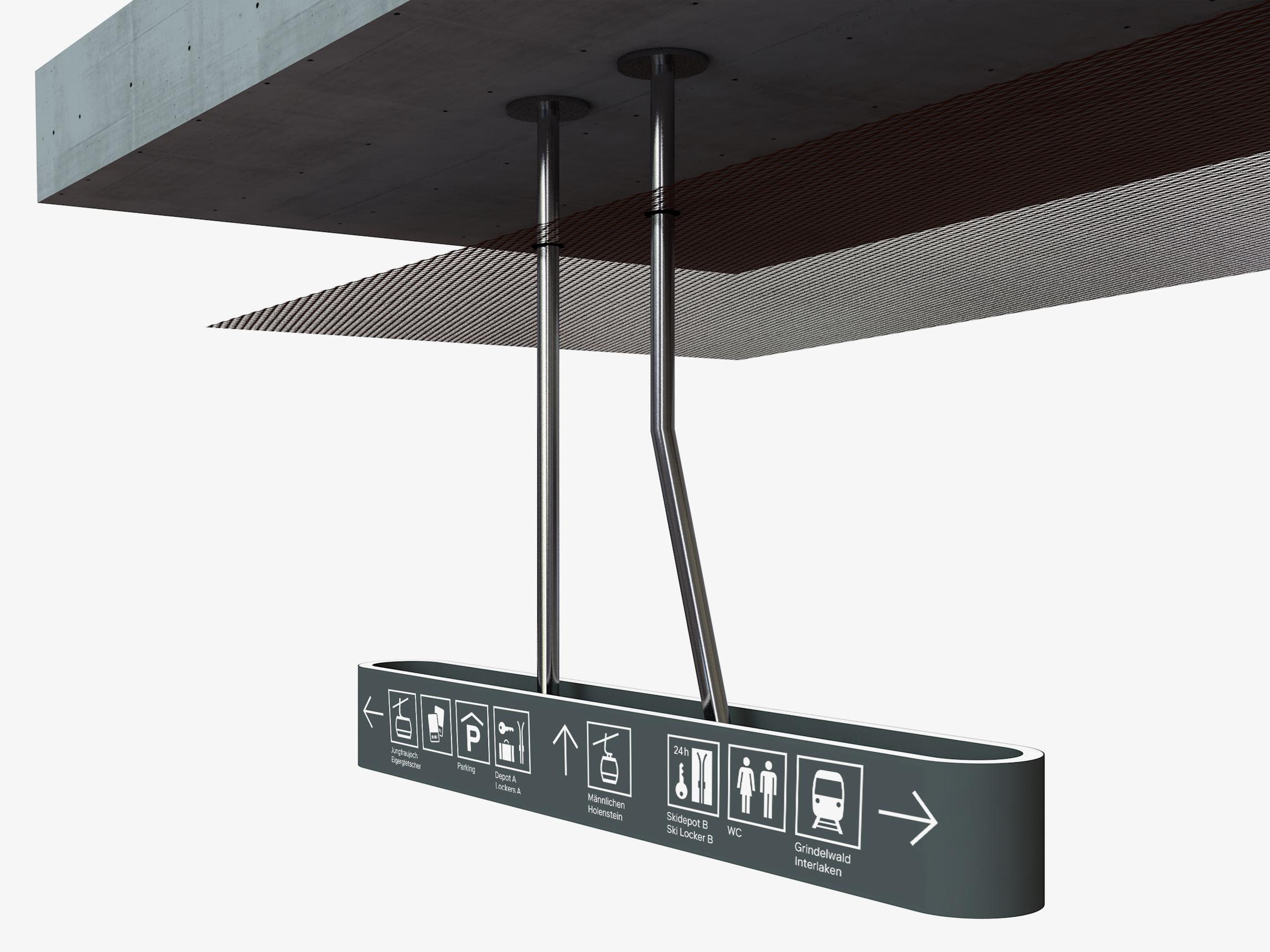 Rendering Wegleitung Leuchtmodul für Signaletik mit Piktogramme